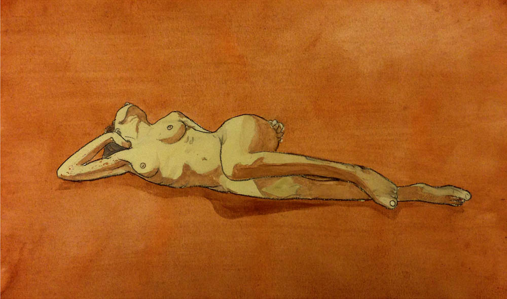 Lying nude watercolour